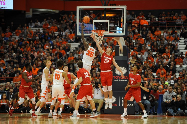 Syracuse University pulls away after a defensive-minded first half and opening the season with a 77-45 win over Cornell on Friday evening at the Carrier Dome.(Boris Tsang/Staff Photographer)