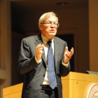 Erwin Chemerinsky speaks at Statler Auditorium on Monday.