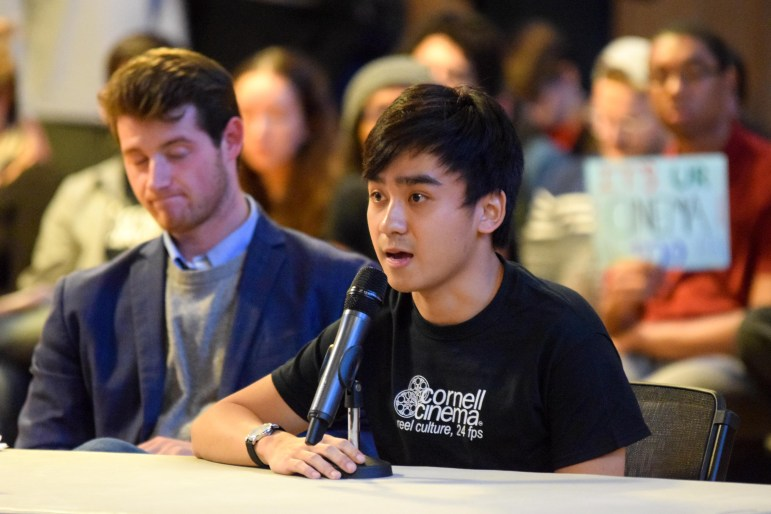 Yuji Yang '19, president of the Cinema's student advisory board (right) speaks at last Thursday's S.A. meeting after Gabriel Kaufman '18 (left) took the floor.