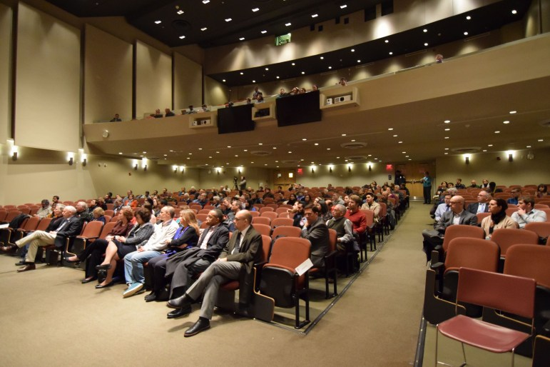 The audience at the lecture at Statler Auditorium on Monday.
