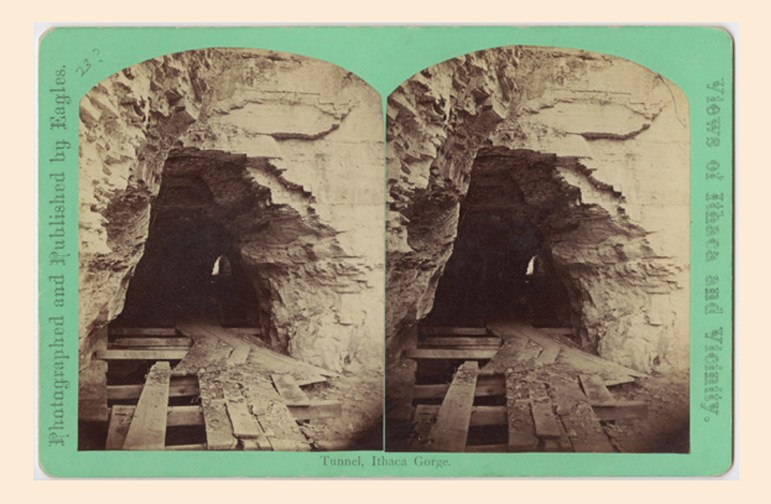 Ezra's Tunnel, which Ezra Cornell began building in 1830 and is pictured here in 1868.