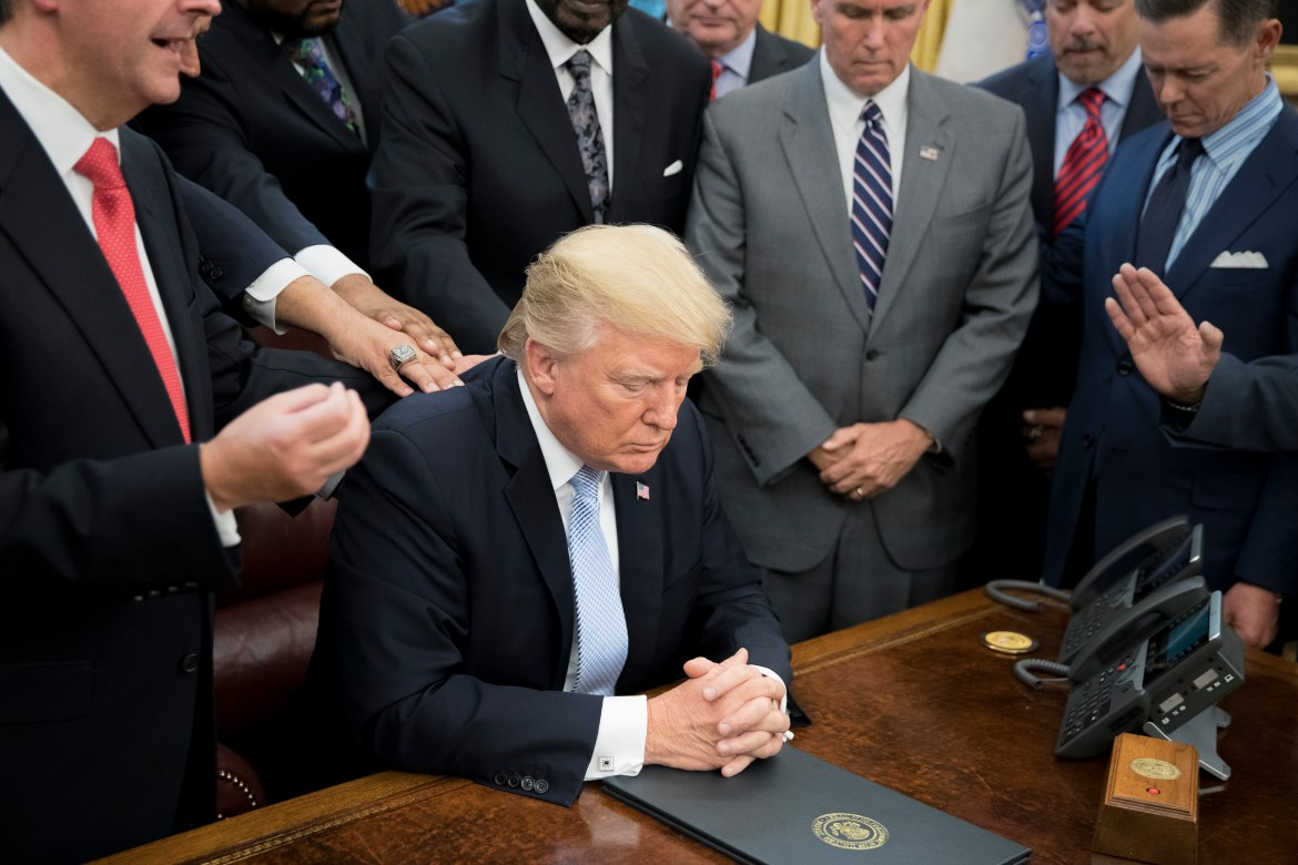 President Donald Trump sits in the Oval Office of the White House on Sept. 3. The Republican tax plan released Thursday would subject Cornell's endowment value of roughly $295,000 per student to  a tax.