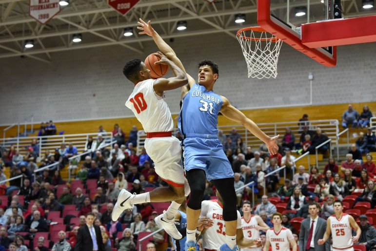 Juniors Matt Morgan (29) and Stone Gettings (25) combined for 54 points and Cornell picked up its first Ivy League win of the season thanks to a big second half to collect an 82-81 win over Columbia on Saturday afternoon at Newman Arena