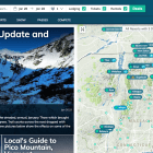 The website of SnowSearch shows conditions of skiing and snowboarding locations.