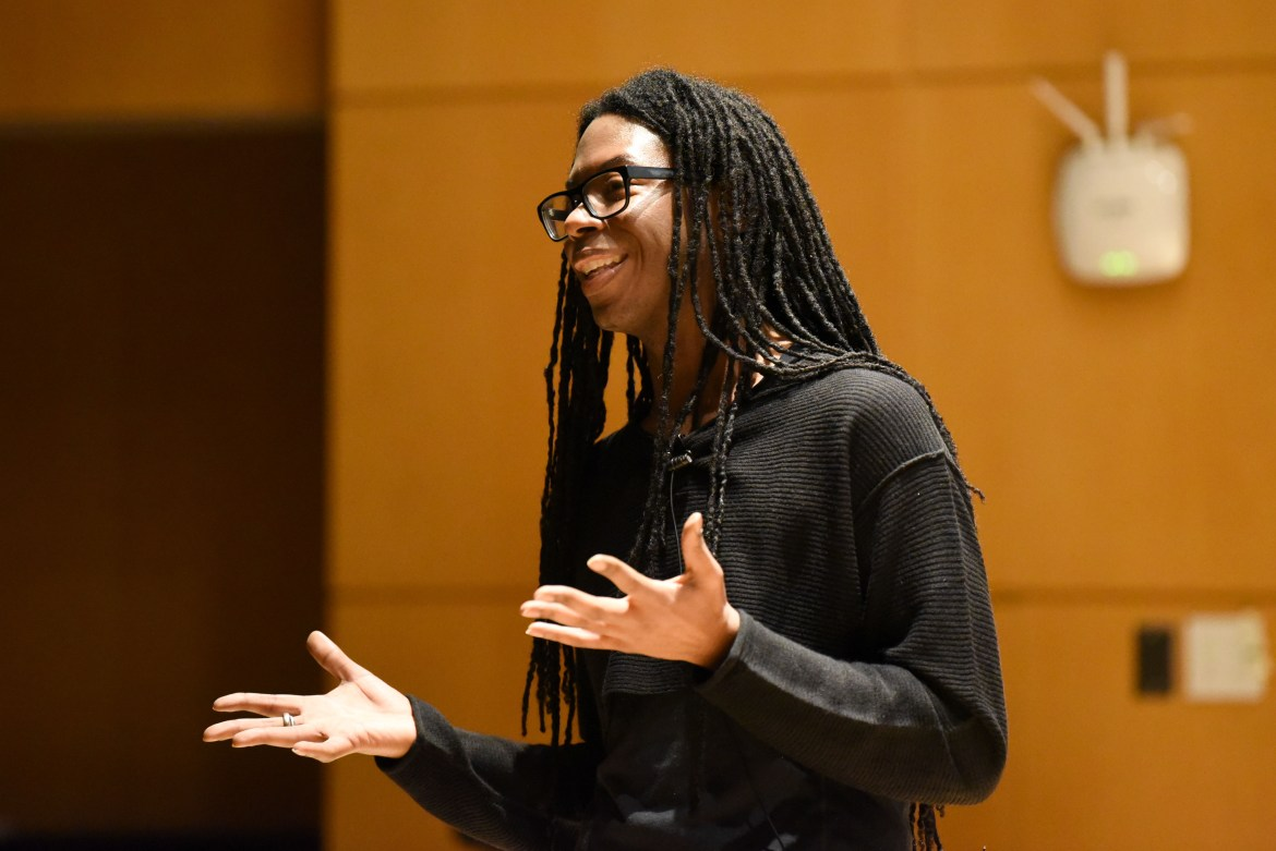Christopher-Sebastian , an adjunct lecturer at Columbia University, emphasized how racial oppression intersects with animal violence at a talk on Thursday.