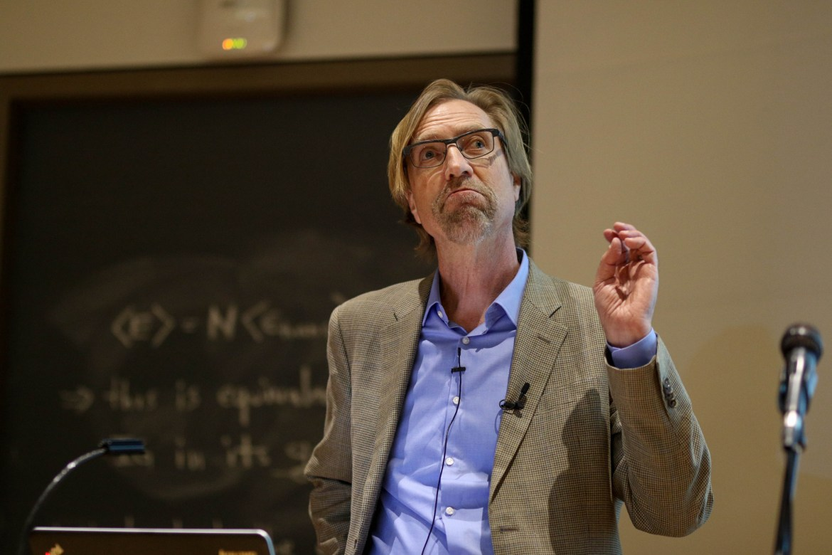 """Prof. Paul Pierson shared his thoughts on American polarization during his lecture, which was the first in the """"Difficulty of Democracy"""" series. He ended his lecture with a rapped parody of 'Hamilton.'"""