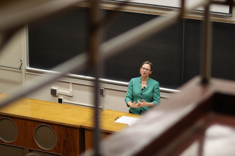 "On Monday, former U.S. environment ambassador Jennifer A. Haverkamp discussed points of optimism amid the aura of ""doom and gloom"" often associated with climate change. (Michael Wenye Li/Sun Photography Editor)"