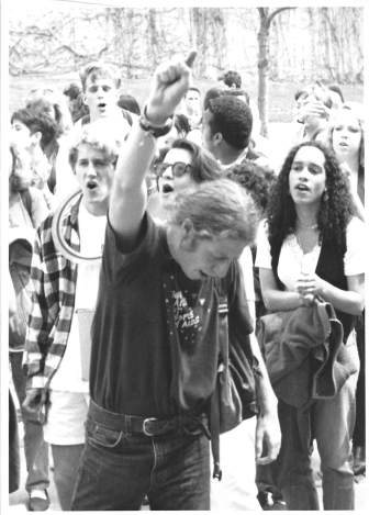 Protesters at a 1992 rally in support of the queer community.