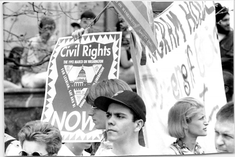 Joseph L. Barrios '93, then-gay/lesbian/bisexual liaison at-large, advocating for a queer living unit at Cornell at a 1993 March on Washington.
