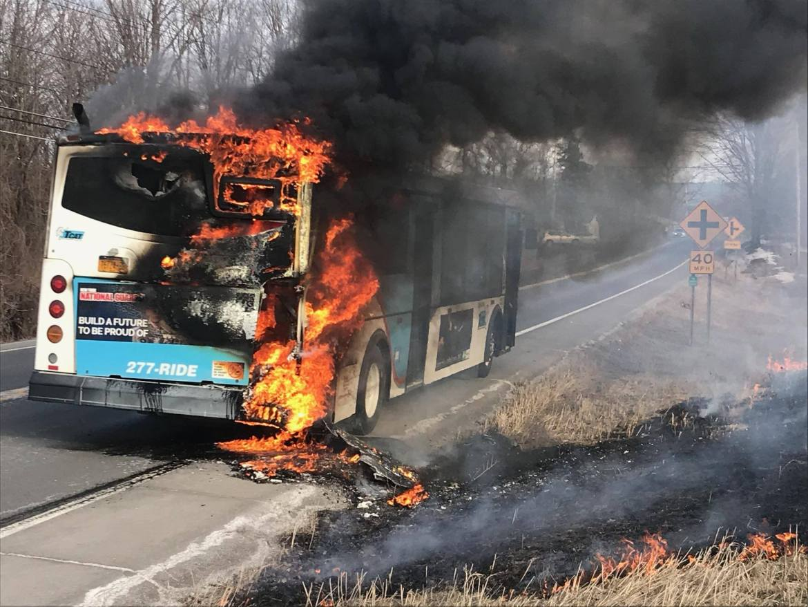 A TCAT bus caught fire on State Route 96 Friday evening.