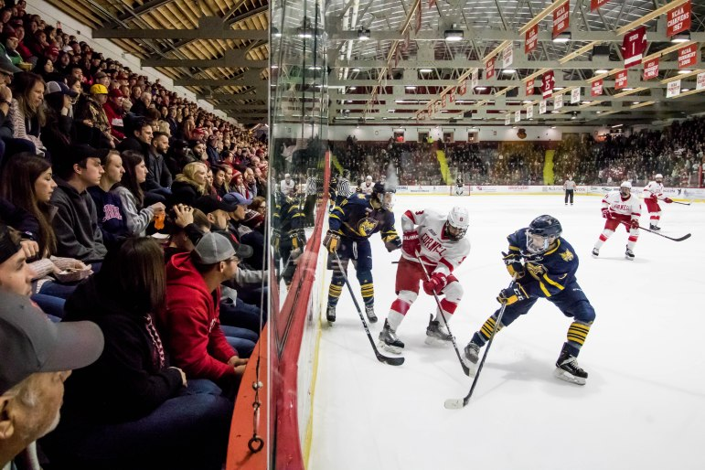 The men's hockey team took the opening game of the ECAC quarterfinals against Quinnipiac in a resounding 9-1 victory on Friday.