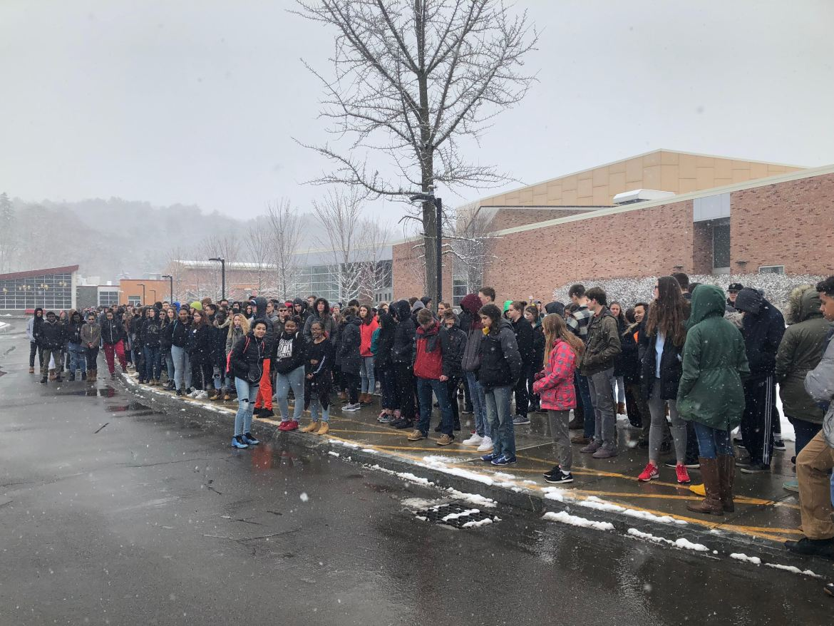 Ithaca High School students walked out of their classes on Wednesday morning.