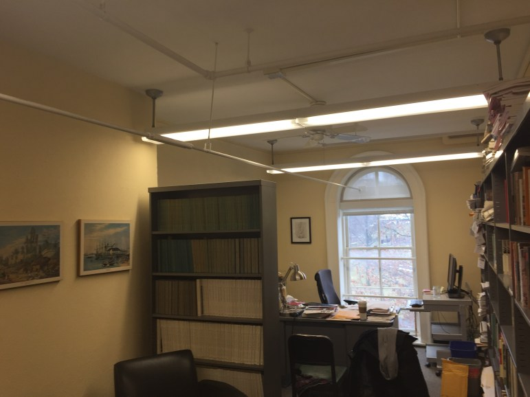 A bracing installed in 2011 running through the office of Prof. Ghosh in McGraw Hall.