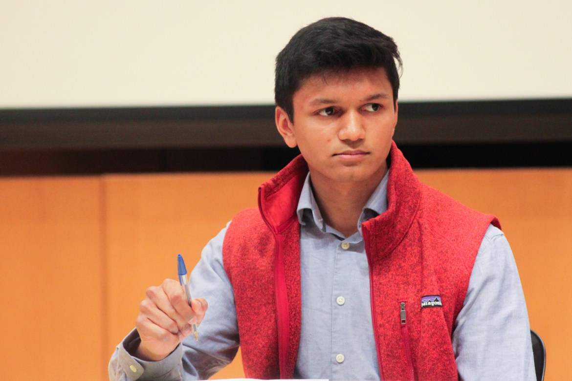 Varun Devatha '19, S.A. president candidate currently appealing the S.A. election committee's decision, at the March 21 S.A. presidential debate.