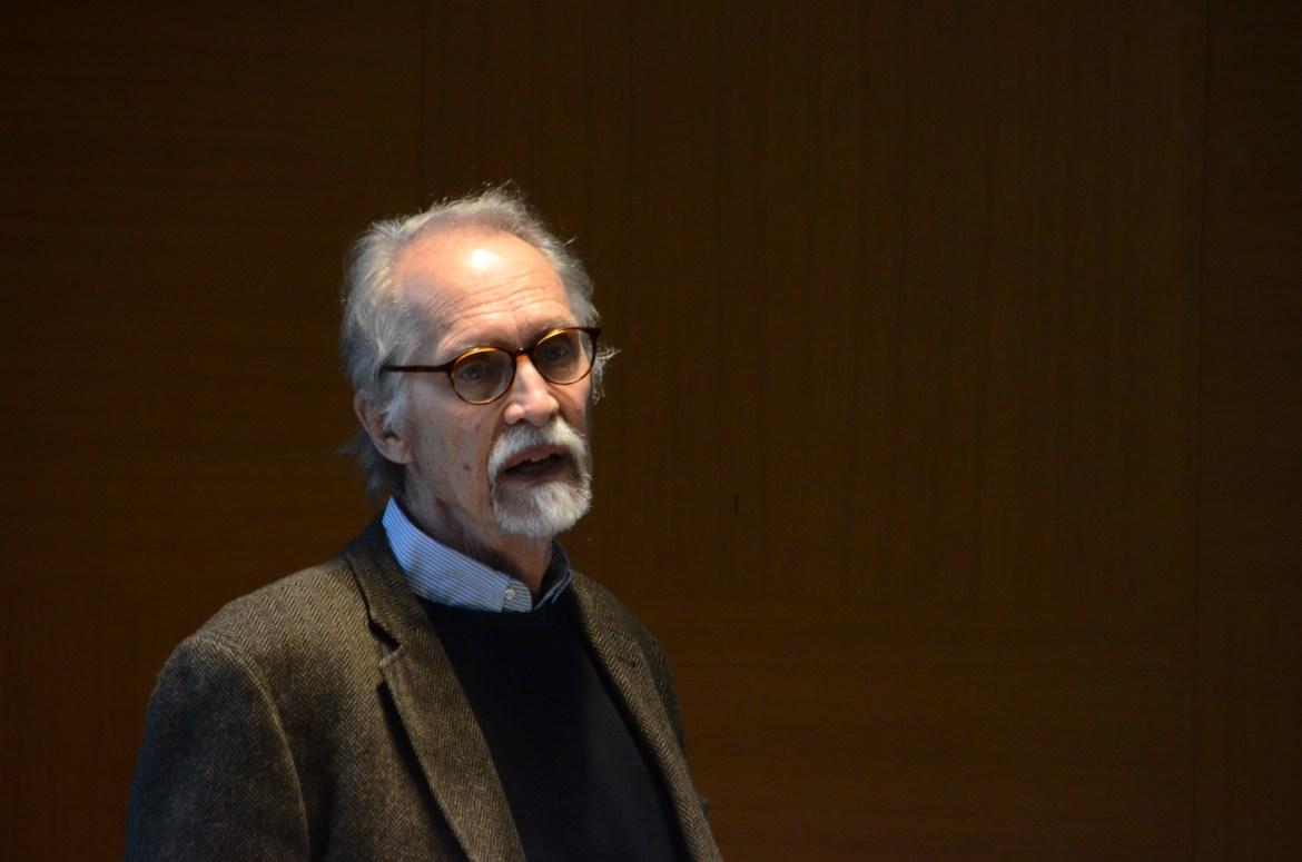 Prof. Emeritus Anthony Oliver-Smith, anthropology, University of Florida, explores ways to study natural disasters during a lecture on Wednesday.