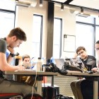 Students collaborate on health hackathon project ideas at Collegetown Ehub
