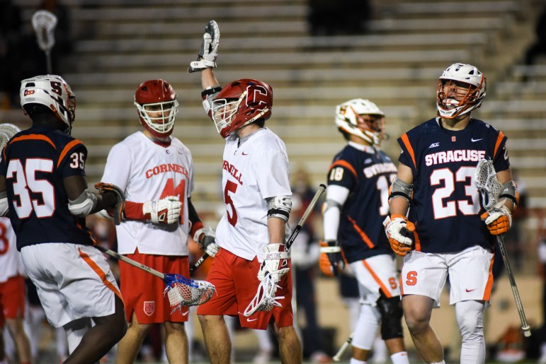 Clarke Petterson scored 2 of Cornell's 13 goals in the game against Syracuse.