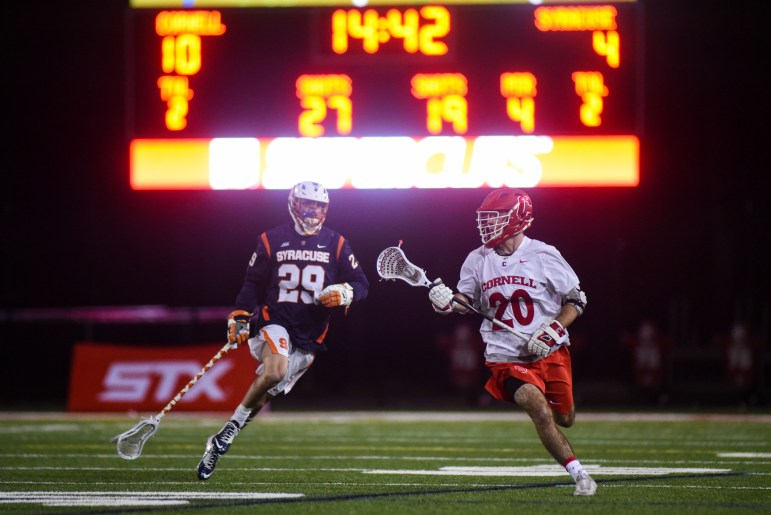 The men's lacrosse team upset No. 7 Syracuse in a 13-8 victory on Tuesday.