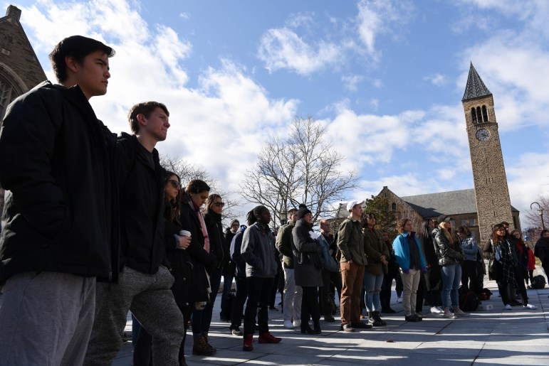Students held a demonstration at Ho Plaza on Friday as part of Sexual Assault Awareness Week.