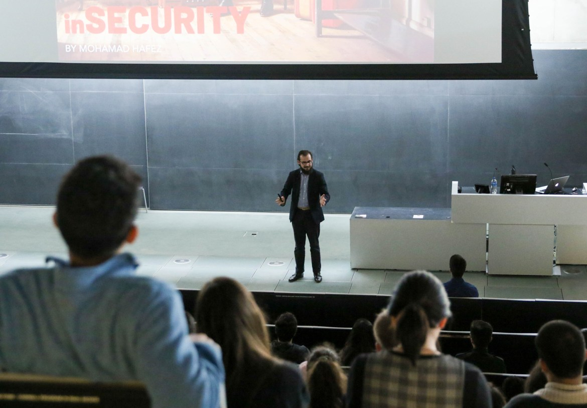 Syrian artist and architect Mohamad Hafez spoke to Cornell students and faculty on Friday in Milstein Hall.