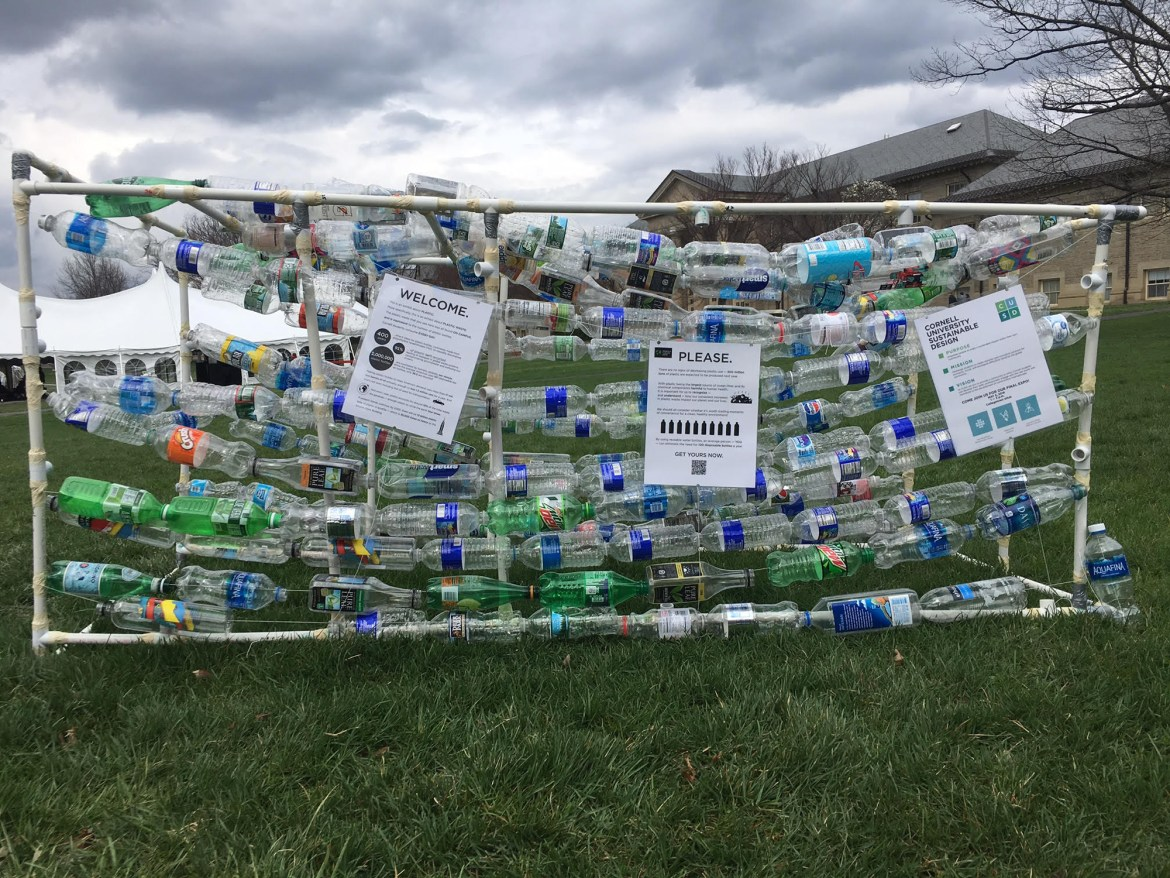 The Cornell University Sustainable Design team used water bottles found on campus, totalling roughly 200 plastic water bottles to create their project showcased on the Arts Quad.