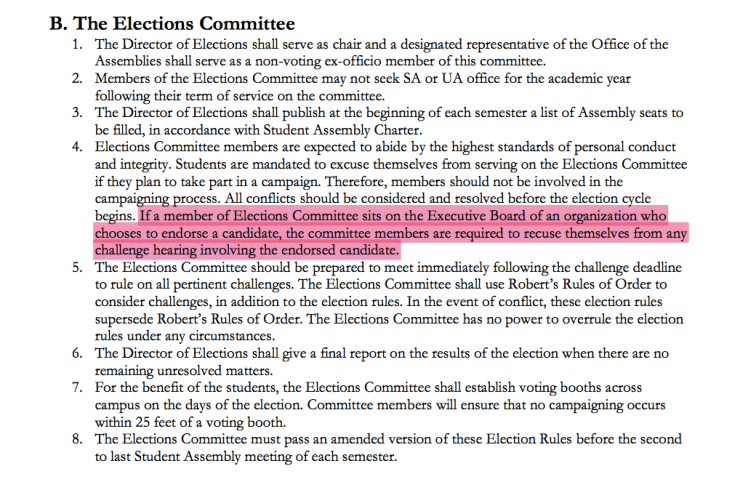 Article II, Section B, Part 4 of the election rules, which McLaughlin authored and said some committee members violated.