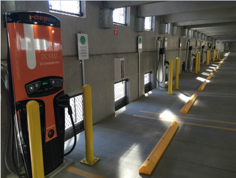 An example of the new ChargePoint power station in the Forest Home garage.