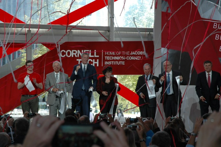 The University's top officials at the opening of Cornell's Tech Campus on Roosevelt Island in New York City in September 2017.