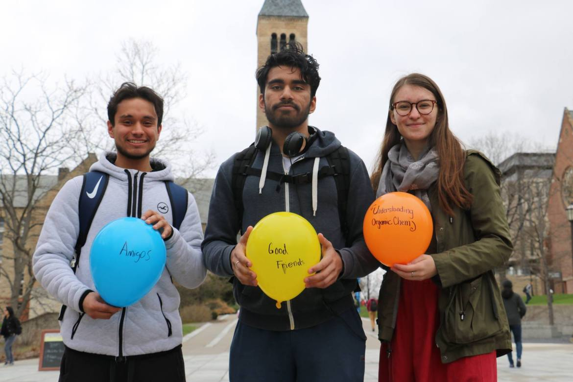 "Students signed balloons to detail what ""lifts"" them on April 27 as part of a promotion campaign."