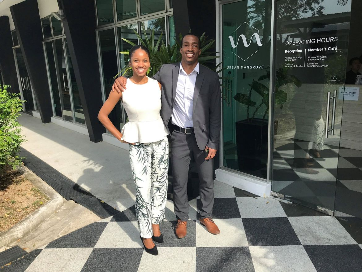 Everybody Eats cofounders, Imani Majied '19 and Dr. Muhammad Ansari in Singapore where they won a place in the Young Social Entrepreneurs Program with Singapore International Foundation this March.