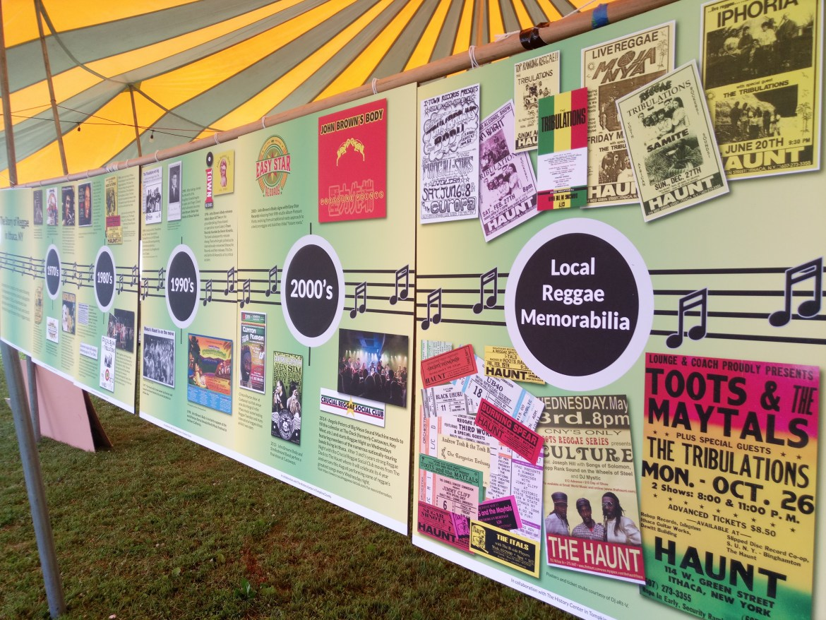 The History Center's tent at Ithaca Reggae Fest showcased the city's rich reggae past.