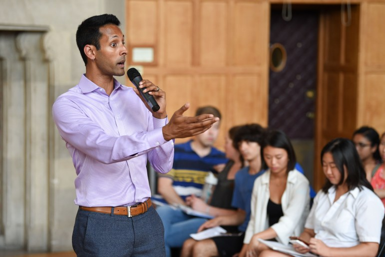 Dean of Students Vijay Pendakur addresses the students.