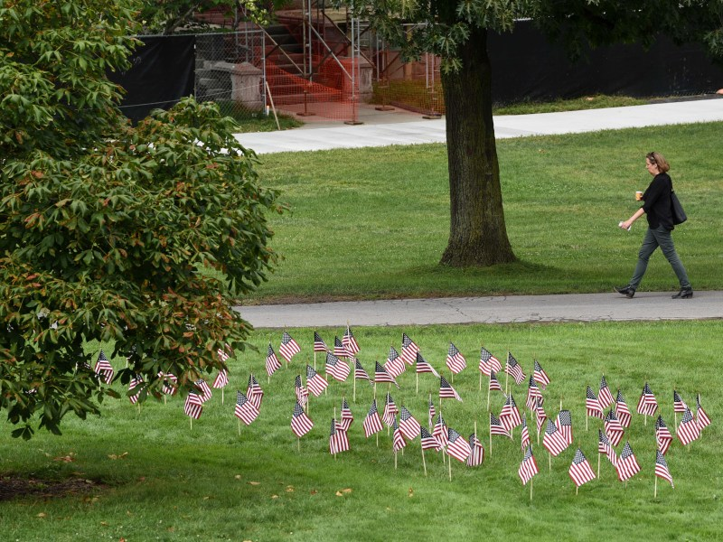 Cornell Republicans placed flags on the Arts Quad to commemorate the 17th anniversary of the September 11 terrorist attacks. (Boris Tsang / Sun Assistant Photography Editor)