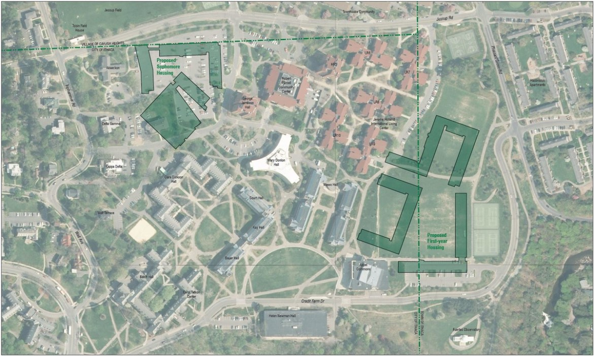 The North Campus Housing Expansion will build two new housing sites, one on the fields north of Appel Commons and one on the location of the CC Lot.