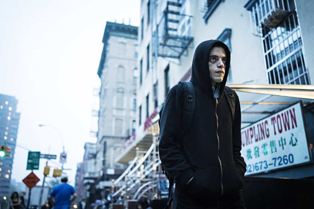 Rami Malek as the protagonist of Mr. Robot, Elliot Alderson.