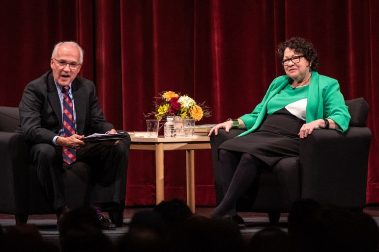 Retired U.S. appeals court judge Richard C. Wesley J.D. '74 led a discussion with Justice Sonia Sotomayor on Thursday. The former colleagues jested frequently in between more serious moments.