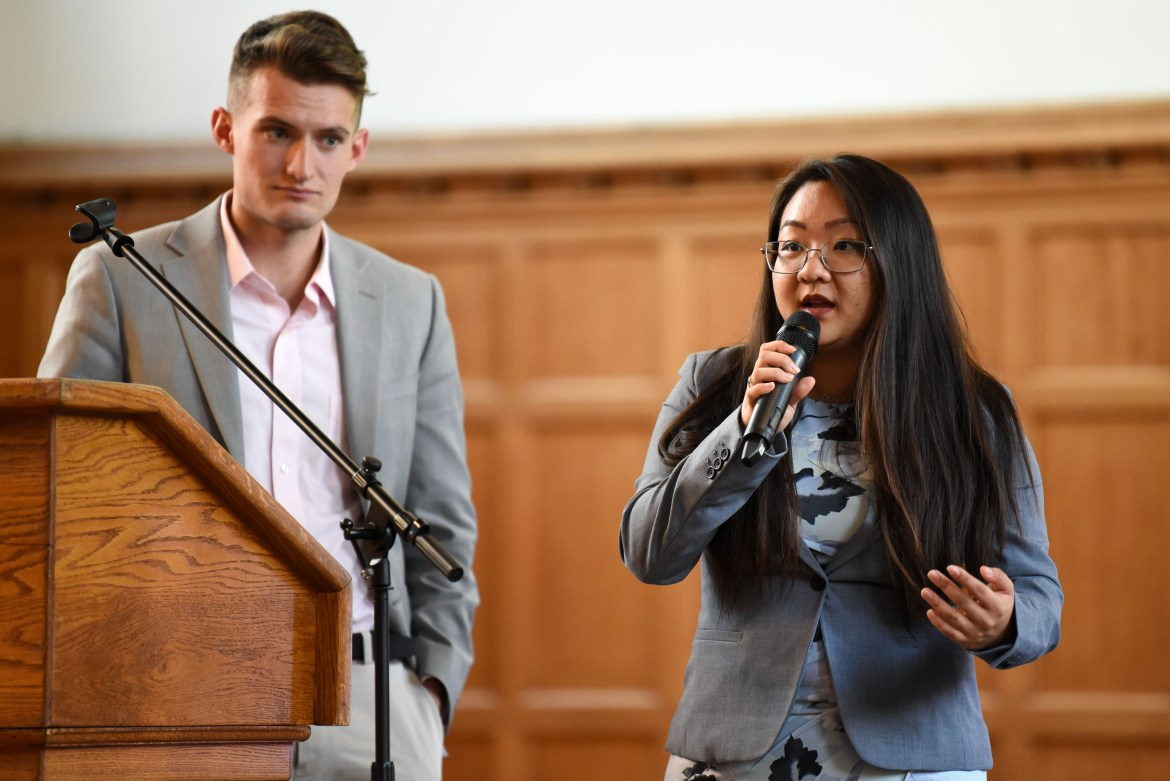 Joanna Hua '20, co-president of the student mental health task speaks at the mental health community forum.