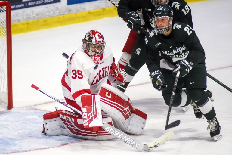 Sophomore goalie Matt Galajda gave up four goals and the team five. Cornell did not give up five goals all of last season.