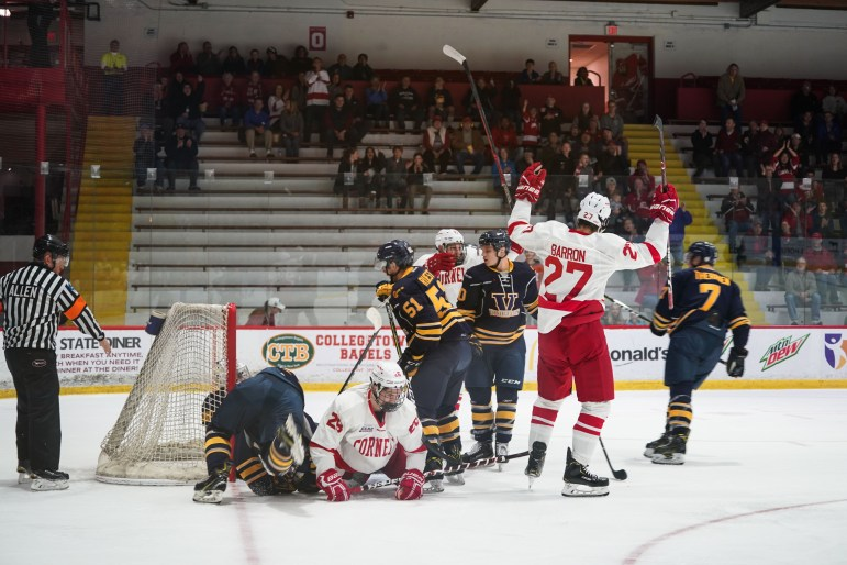 Sophomore forward Morgan Barron celebrates after scoring Cornell's first goal of the night. Cornell went on to defeat Laurentian in a dominating 6-1 victory. (Ben Parker / Sun Staff Photographer)