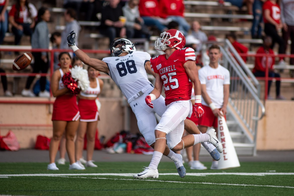 David Jones, pictured above in a loss to Yale, had two interceptions in Saturday's win against Sacred Heart.