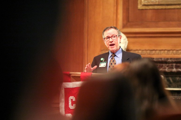 Mark Webster, CEO of Cortland Regional Medical Center, offers his perspective on the current state of the U.S. healthcare system and Sen. Bernie Sanders' (D-Vt.) single payer healthcare platform at a debate held by the Cornell Political Union on Monday. (Michael Wenye Li / Sun Photography Editor)