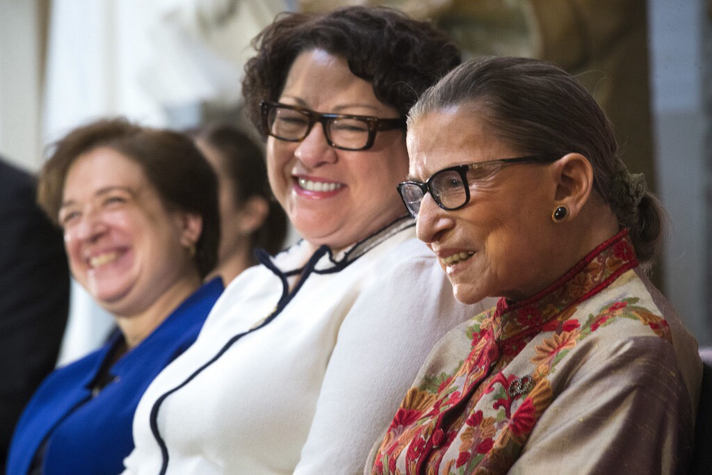 Justice Sotomayor sits with Justice Ruth Bader Ginsburg '54.