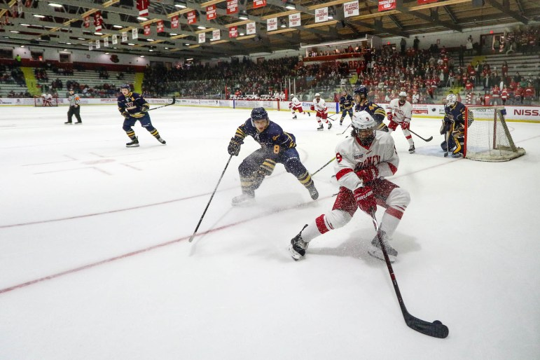 Cornell men's ice hockey took on Laurentian University on Saturday for its first preseason game. (Michael Wenye Li / Sun Photography Editor)