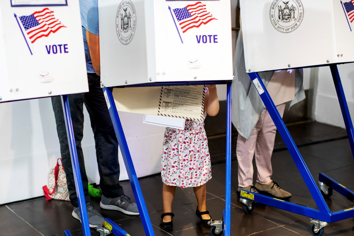 Early morning primary voters at the Brooklyn Museum in New York, Sept. 13, 2018. New York voters are heading to the polls on Thursday as an unusual season of primaries, marked by surprise victories and insurgent candidacies, moves to an end. (Demetrius Freeman/The New York Times)