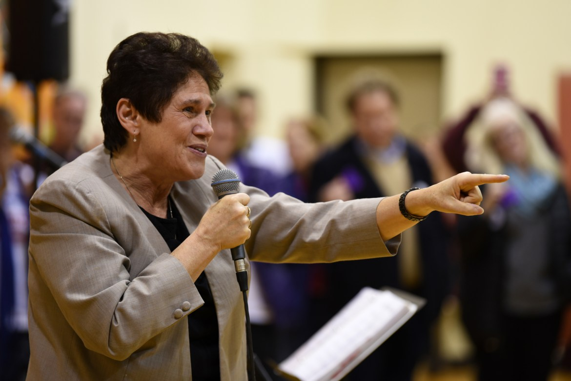 Democratic Congressional Candidate J.D. '95 rallies support for her campaign in Southside Community Center.