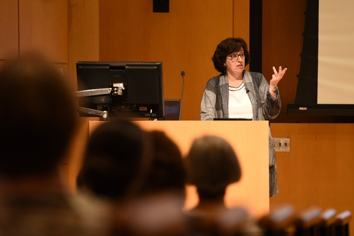 President Martha E. Pollack delivered her annual address to faculty and staff in Klarman Auditorium on Tuesday.