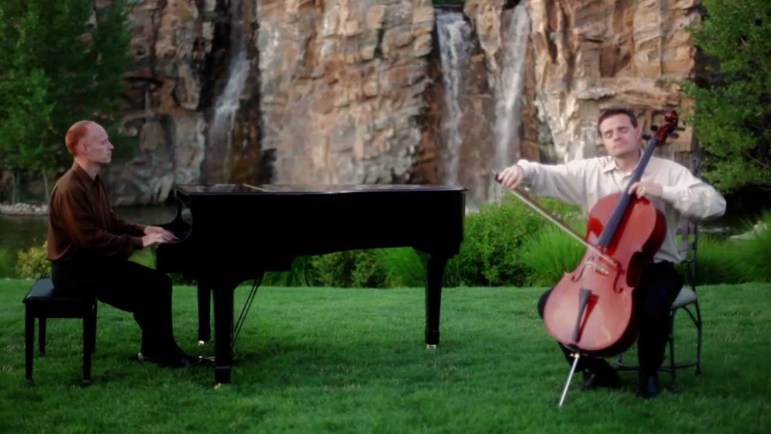 The Piano Guys in one of their YouTube videos in which they perform a song from Les Miserables.