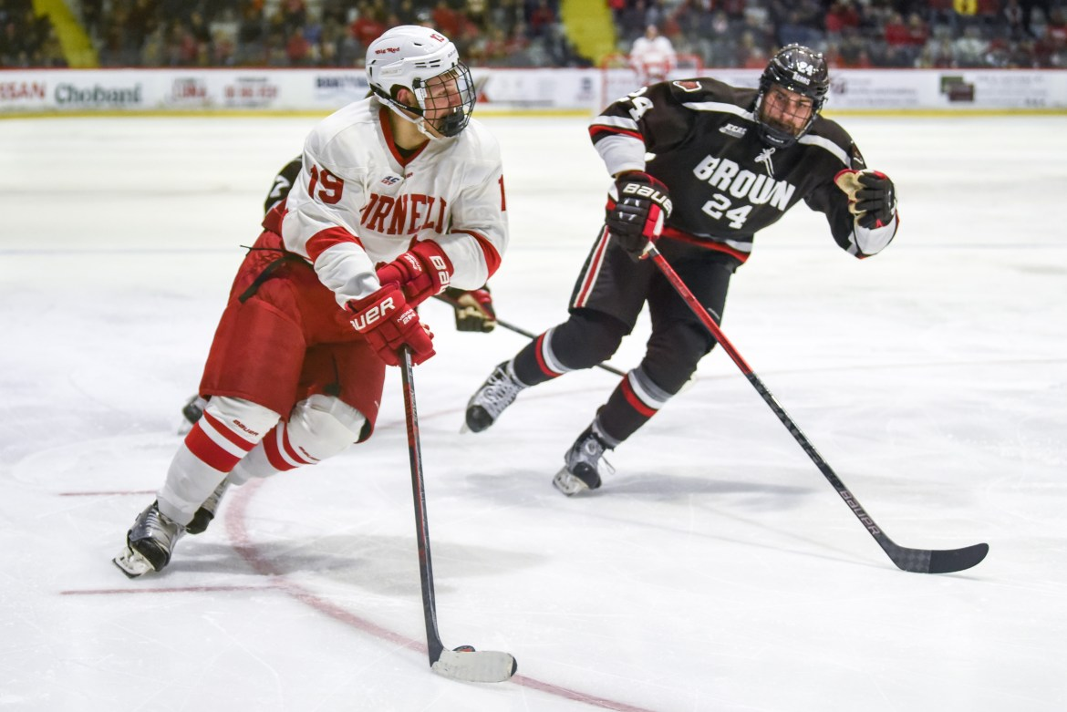 Freshman forward Michael Regush, pictured above in last weekend's win over Brown, scored his second goal in as many games as the Red beat NMU, 3-1.