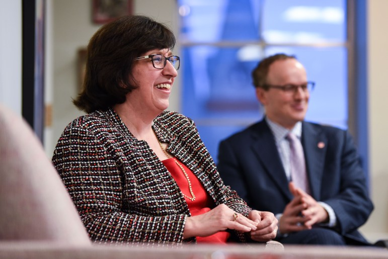 President Martha E. Pollack sat down with The Sun on Monday to discuss the University's progress in areas from Greek reform to mental health services. (Boris Tsang / Sun Assistant Photography Editor)