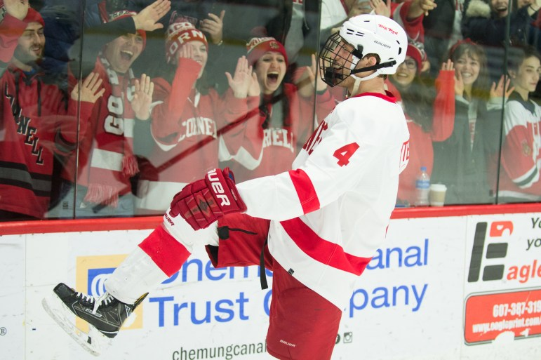 Then-captain Alex Rauter '18 celebrates his goal in Cornell's most recent game against Quinnipiac, a series-clinching victory in the ECAC quarterfinals.